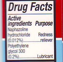 Target eye drops contain polyethylene glycol and naphazoline hydrochloride