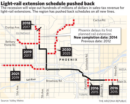 Map of the Phoenix light rail system and proposed new routes
